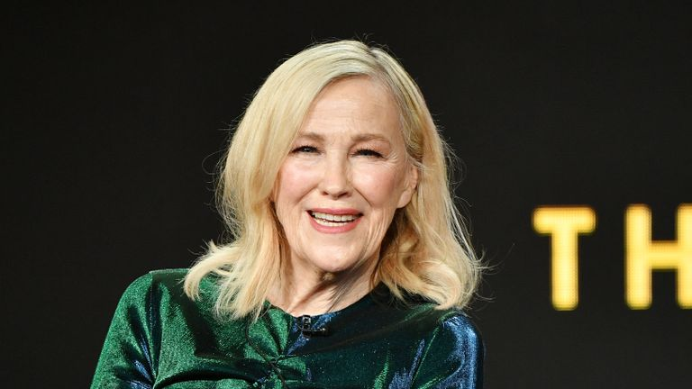 "PASADENA, CALIFORNIA - JANUARY 13: Catherine O'Hara of ""Schitt's Creek"" speaks during the Pop TV segment of the 2020 Winter TCA Press Tour at The Langham Huntington, Pasadena on January 13, 2020 in Pasadena, California. (Photo by Amy Sussman/Getty Images)"
