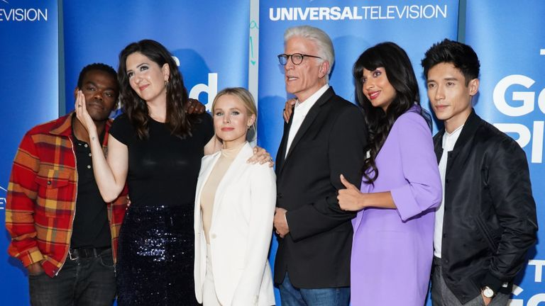 "LOS ANGELES, CALIFORNIA - JUNE 17: (L-R) Marc Evan Jackson, William Jackson Harper, D'Arcy Carden, Kristen Bell, Ted Danson, Jameela Jamil and Manny Jacinto attend Universal Television's ""The Good Place"" FYC at UCB Sunset Theater on June 17, 2019 in Los Angeles, California. (Photo by Rachel Luna/Getty Images)"