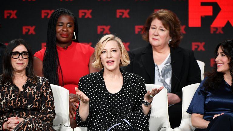 PASADENA, CALIFORNIA - JANUARY 09: (L-R) Stacey Sher, Uzo Aduba, Cate Blanchett, Margo Martindale, and Dahvi Waller of Mrs. America' speak during the FX segment of the 2020 Winter TCA Tour at The Langham Huntington, Pasadena on January 09, 2020 in Pasadena, California. (Photo by Amy Sussman/Getty Images)