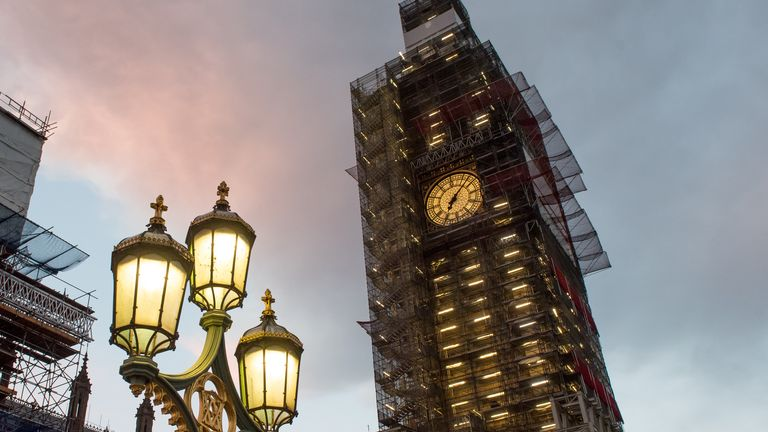 LONDON, NOVEMBER 11: A general view of Big Ben during renovations and covered with scaffolding early morning at sunrise on November 11, 2018 in London, England. (Photo by John Keeble/Getty Images)