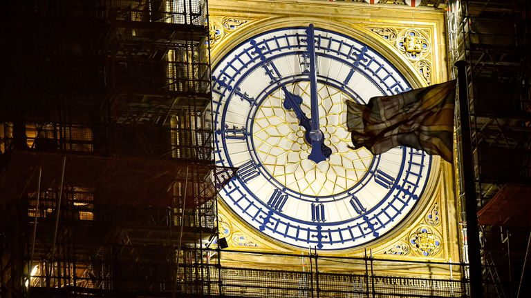 Big Ben clock face shows 11:00pm twenty-four hours until the UK will no longer be a member of the European Union on January 30, 2020 in London, United Kingdom