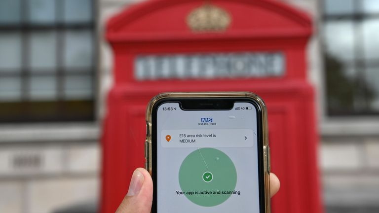 The newly launched contact tracing app, which uses Bluetooth technology to alert users if they spend 15 minutes or more within two metres (six feet) of another user who subsequently tests positive for the nove coronavirus COVID-19, is pictured on a smartphone in London on September 24, 2020. - The British government on Thursday finally launches its troubled smartphone app to help track the coronavirus in England and Wales -- four months behind schedule and with cases once again surging. (Photo b