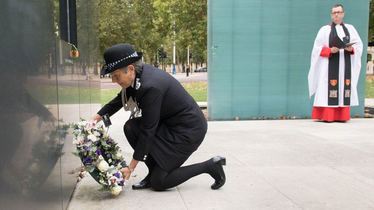 Metropolitan Police Commissioner Dame Cressida Dick lays a wreath at the National Police Memorial in London to mark National Police Memorial Day