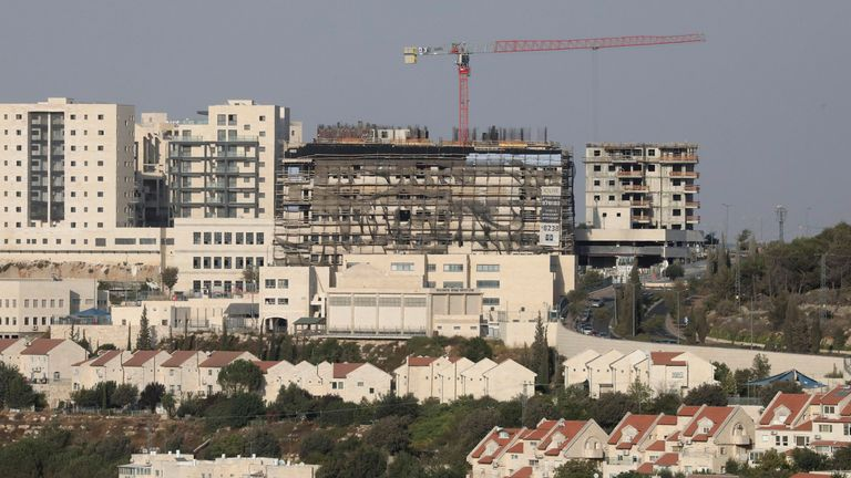 Building work at an Israeli settlement in the West Bank