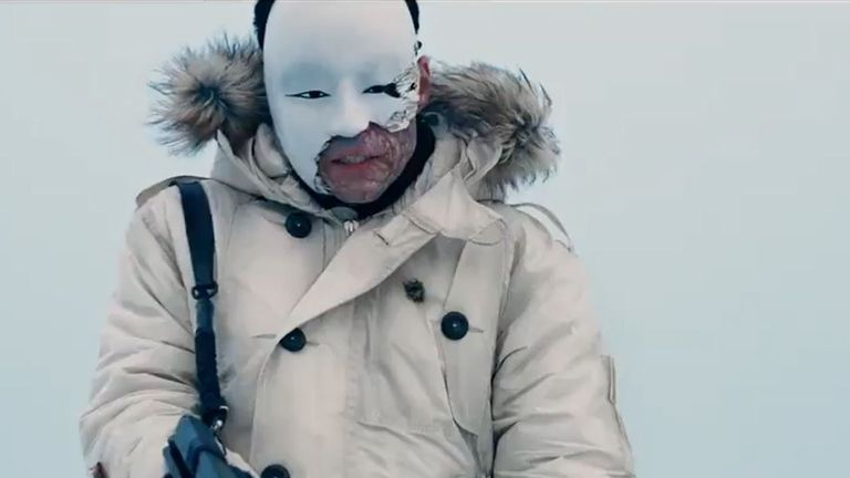 Safin wears a Japanese Kabuki mask over his scarred face. Pic: Universal