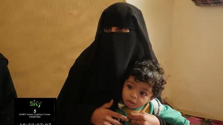 One of the three survivors, Nora Ali Muse'ad Mujali, told Sky News she was breastfeeding her baby when the bomb landed