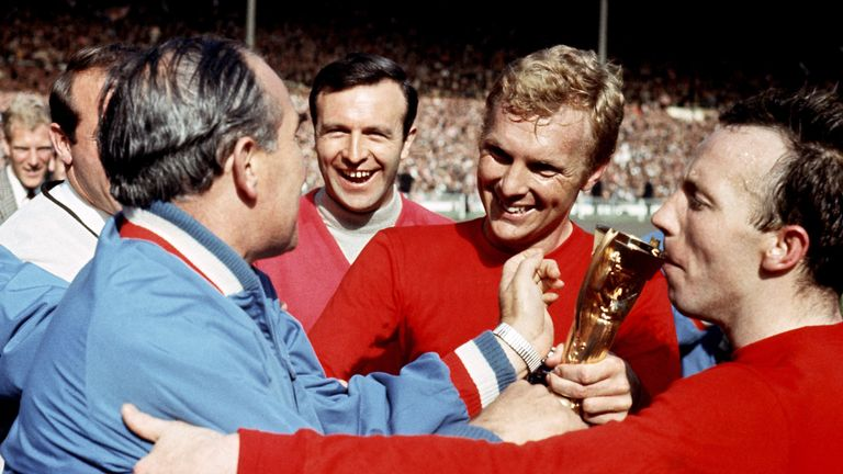 Nobby Stiles kisses the World Cup trophy in 1966