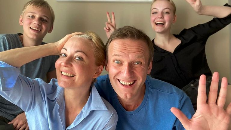 Alexei Navalny and his wife Yulia pose for a selfie with their children in a video released on 31 December on his Instagram account